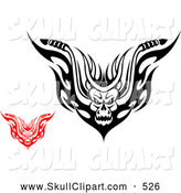 Vector Clip Art of a Scary Red and Black and White Demons with Flames by Vector Tradition SM