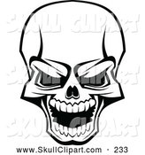 Vector Clip Art of a Scary Skull Laughing on White by Vector Tradition SM