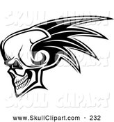 Vector Clip Art of a Scary Skull with a Mohawk by Vector Tradition SM