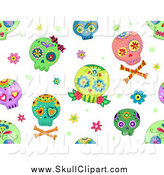 July 30th, 2014: Vector Clip Art of a Seamless Background of Colorful Sugar Skulls on White by BNP Design Studio