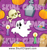 May 31st, 2014: Vector Clip Art of a Seamless Halloween Background Pattern of Skulls Candles Spiders Bats Tombstones Coffins and Pumpkins on Purple by Visekart