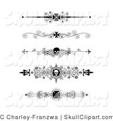 Vector Clip Art of a Set of Five Black and White Flourish Iron Cross and Skull Headers, Dividers, Banners or Lower Back Tattoo Designs by C Charley-Franzwa