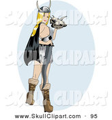 Vector Clip Art of a Sexy Blond Pinup Viking Woman Holding a Skull and Sword by R Formidable