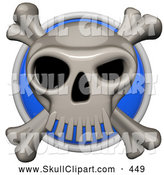 Vector Clip Art of a Shiny 3d Shiny Blue Circular Skull and Cross Bones Pirate Icon Button by Leo Blanchette