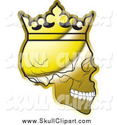 Vector Clip Art of a Shiny Gold Human Skull Wearing a Crown, in Profile by Lal Perera