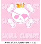 Vector Clip Art of a Shiny Princess Crown Wearing an Eye Patch and Crown over Pink by Pushkin
