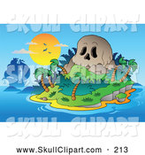 Vector Clip Art of a Ship by a Skull Mountain Tropical Island at Sunset by Visekart