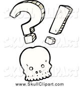 Vector Clip Art of a Shocked Skull with a Question Mark and Exclamation Point by Lineartestpilot