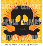Vector Clip Art of a Silhouetted Black Human Skull and Crossbones with Glowing Eye Sockets, over an Orange Background by Maria Bell
