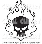 Vector Clip Art of a Silhouetted Black Skull in White Flames by John Schwegel