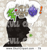 Vector Clip Art of a Silhouetted Head with a Bolt, Skull and Scribble in a Word Thought Balloon by NL Shop