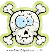 Vector Clip Art of a Silly Faced Skull and Crossbones on Green and White by Cory Thoman