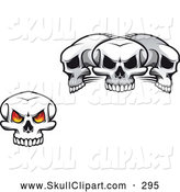Vector Clip Art of a Single Fiery Eyed Skull and Three Skulls by Vector Tradition SM