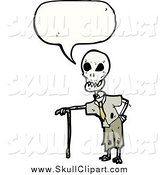 Vector Clip Art of a Skeleton Speaking by Lineartestpilot