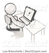 Vector Clip Art of a Sketched Design Mascot White Doctor Man Sitting at a Computer and Viewing an Xray of a Head by Leo Blanchette