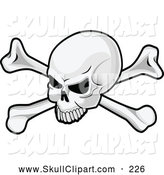 Vector Clip Art of a Skull and Crossbones Pirate Flag Logo by Vector Tradition SM