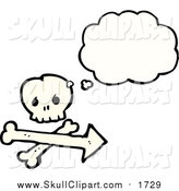 Vector Clip Art of a Skull and Crossbones with a Thought Bubble by Lineartestpilot