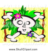 Vector Clip Art of a Skull and Crossbones with Leaves over Zig Zags by