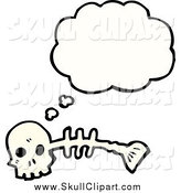 June 11th, 2014: Vector Clip Art of a Skull and Fish Skeleton Thinking by Lineartestpilot