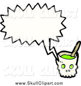 Vector Clip Art of a Skull Bowl Talking by Lineartestpilot