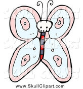 Vector Clip Art of a Skull Butterfly by Lineartestpilot