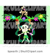 Vector Clip Art of a Skull Character Dancing with a Serpent, with a Stack of Bones and Flower Garland, on a Black and Green Background by