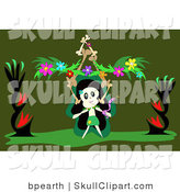 Vector Clip Art of a Skull Character Dancing with a Snake, Balancing a Stack of Bones and Flower Garland, on a Green Background on Halloween by