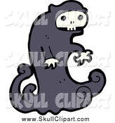 Vector Clip Art of a Skull Ghost by Lineartestpilot