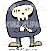 Vector Clip Art of a Skull Man Thinking by Lineartestpilot