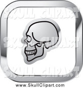 Vector Clip Art of a Skull on a Square Silver and White Icon by Lal Perera