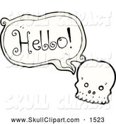 Vector Clip Art of a Skull Saying Hello by Lineartestpilot