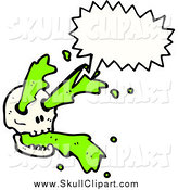 Vector Clip Art of a Skull Shooting out Green Slime and a Conversation Bubble by Lineartestpilot