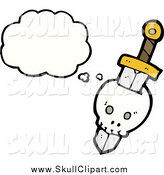 Vector Clip Art of a Skull Stabbed by a Sword with a Conversation Bubble by Lineartestpilot