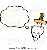 Vector Clip Art of a Skull Stabbed with a Dagger with a Conversation Bubble by Lineartestpilot