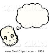 Vector Clip Art of a Skull Thinking by Lineartestpilot