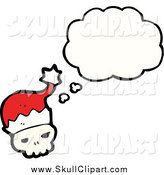 January 29th, 2015: Vector Clip Art of a Skull Wearing a Santa Hat and Thinking by Lineartestpilot