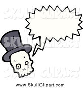 Vector Clip Art of a Skull Wearing a Top Hat and Talking by Lineartestpilot