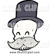 Vector Clip Art of a Skull Wearing a Top Hat by Lineartestpilot