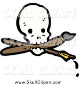 Vector Clip Art of a Skull with a Crossed Pen and Paintbrush by Lineartestpilot