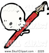 Vector Clip Art of a Skull with a Fountain Pen by Lineartestpilot