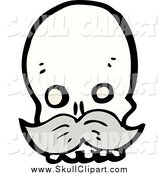 Vector Clip Art of a Skull with a Gray Mustache by Lineartestpilot