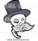 Vector Clip Art of a Skull with a Gray Mustache, Wearing a Top Hat by Lineartestpilot