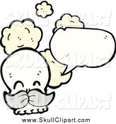 Vector Clip Art of a Skull with a Mustache and a Speech Bubble by Lineartestpilot