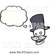 Vector Clip Art of a Skull with a Mustache and a Thought Bubble by Lineartestpilot