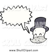 Vector Clip Art of a Skull with a Mustache Talking by Lineartestpilot