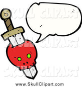 Vector Clip Art of a Skull with Dagger and Conversation Bubble by Lineartestpilot
