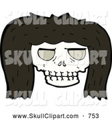 Vector Clip Art of a Skull with Dark Hair by Lineartestpilot