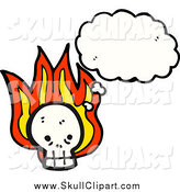 Vector Clip Art of a Skull with Flames and a Thought Bubble by Lineartestpilot