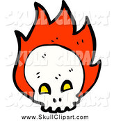 Vector Clip Art of a Skull with Flames by Lineartestpilot