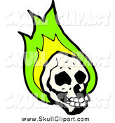 Vector Clip Art of a Skull with Green Flames by Lineartestpilot